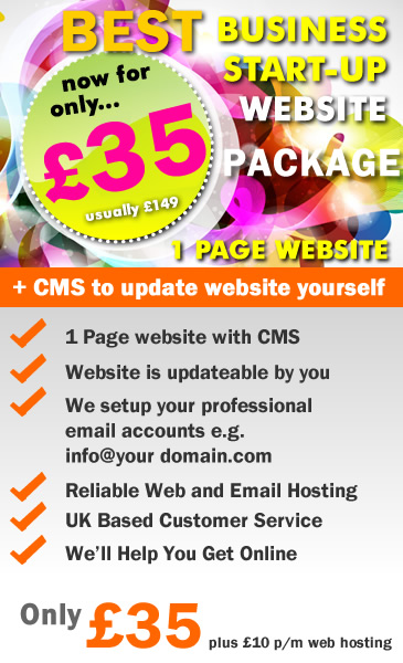 Web Design Special Offer: 1 Page Website with Content Management System (CMS)