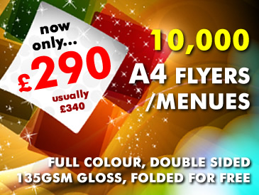 Special Offer: 10,000 A4 Flyers Double Sided Printed For Only £290