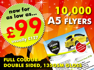 Special Offer: 10,000 A5 Flyers Double Sided Printed For Only £99
