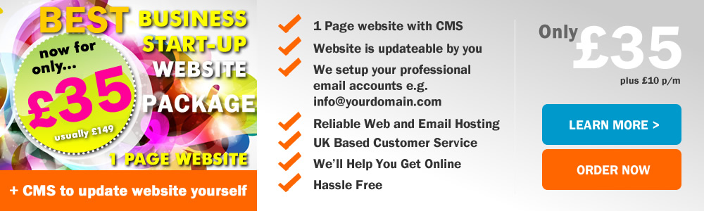 Get this fantastic Business Start-Up Website Design offer now! Get a 1 page website design with the ability to update the website yourself through a content management system (CMS) for just �35 and �10 per month. This is ideal as a starting website for your business on a low budget and you want to just get online at the lowest possible price whilst having control over your website content.